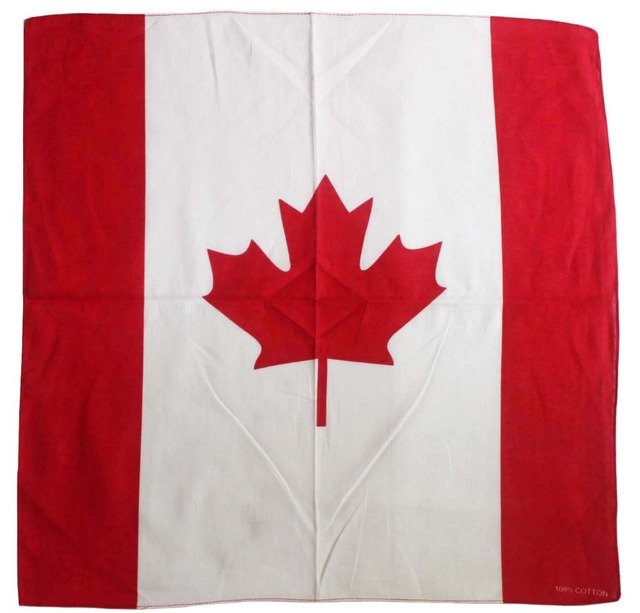 Freies Verschiffen 2017 Neue Mode Baumwolle Kanada Flagge Bandana Headwear Kopftuch