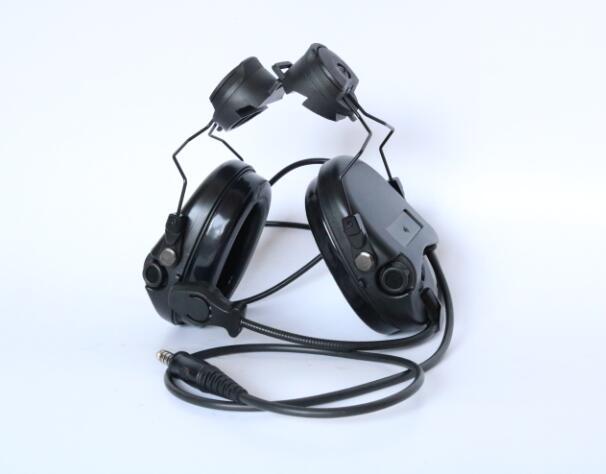 TAC-SKY SORDIN Helmet fast rail bracket Silicone earmuff version Noise reduction pickup headset-BK