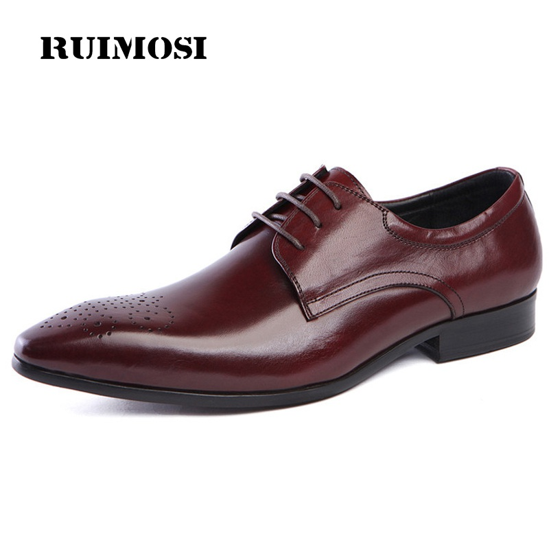 RUIMOSI Pointed Toe Breathable Man Formal Dress Shoes Genuine Leather Male Wedding Oxfords Luxury Brand Men's Bridal Flats DK86