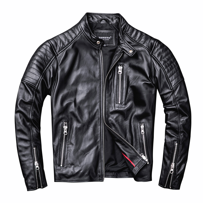 Free Shipping.style Soft Mens Motor Biker Leather Jacket,man Black Genuine Leather Coat.fashion Homme Slim Sheepskin Jackets