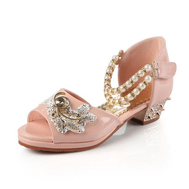 967fb93ffa15 Girls Pearl Beading Rhinestone Sandals Princess Open Toe Mid Heels Sandals  Children Wedding Party Dress Shoes AA51327