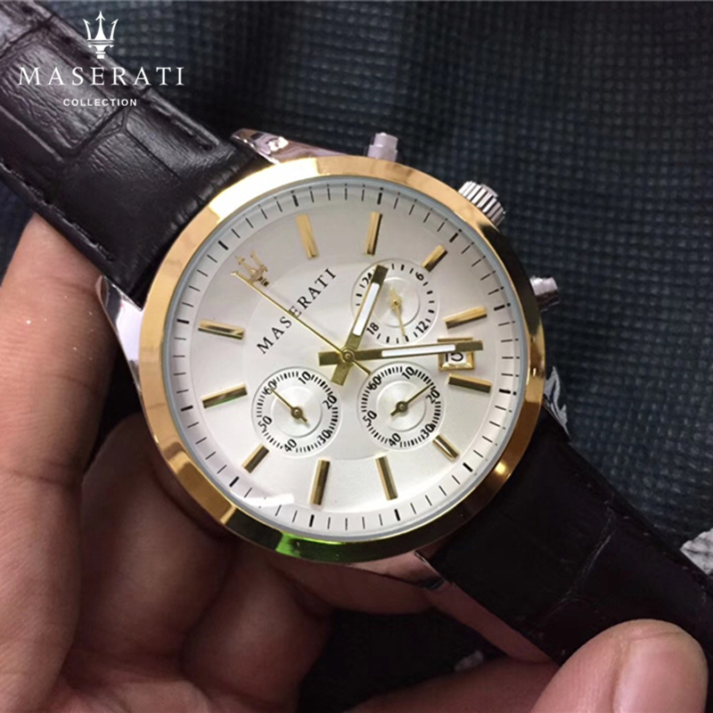 Maserati Quartz Wristwatches Casual Water Resistant Watches Round Stainless Steel Dial Business Complete Calendar Watch 8712749 все цены