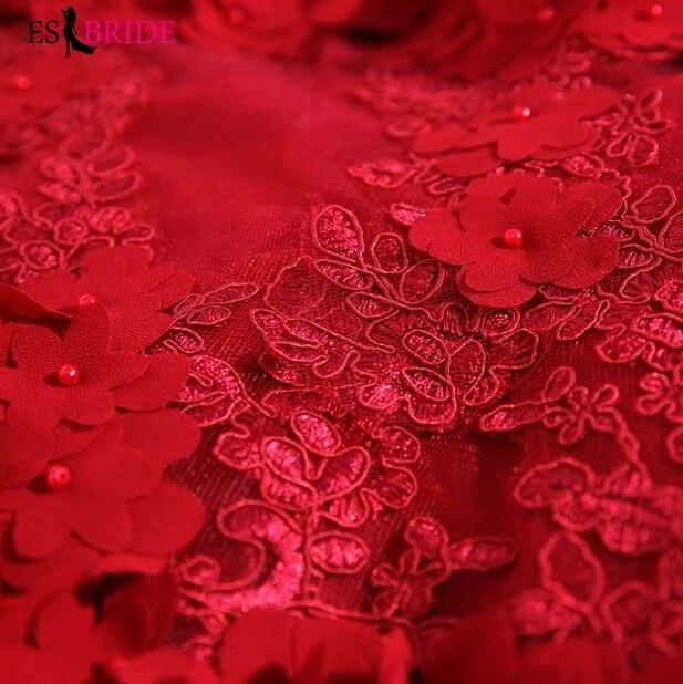 Elegante Rote Abendkleid Lange 2019 Abendkleider Spitze Appliques Formal Robe De Soiree Tiefen V ausschnitt Sexy Meerjungfrau Kleid ES2025 - 4
