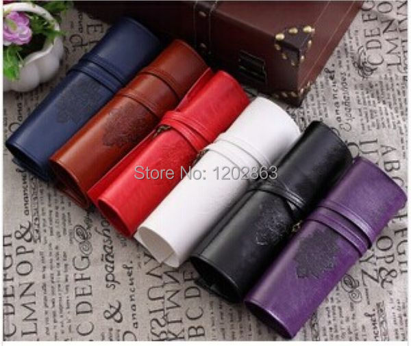 DHL Free Shipping 500pcs Vintage Retro Luxury Roll Leather Make Up Cosmetic Pen Pencil Case Pouch Purse Bag For School