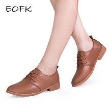 acafd7d00 EOFK Derby Sapatos de Couro Das Mulheres Para As Mulheres Sapatos Baixos 6  Cores Lace Up Branco Marrom Sapatos Mulher Apartament.