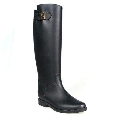 Women Rain Boots Rubber Botas Femininas 2017 Rainboots Galocha Sapatos Rubber Boots For Women Solid Buckle