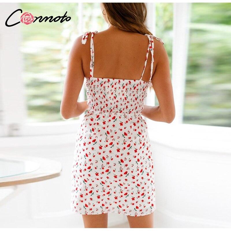 Conmoto Casual Floral Print Short Dress Women 19 Summer Holiday Sexy Beach Chiffon Dress Dress Femme Lace Up Dress Vestidos 12