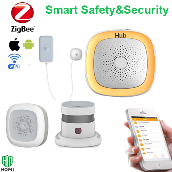Home Safety And Environment Detecting System Zigbee Water Temperature Humidity Sensor Smoke Detector Comprehensive Protection