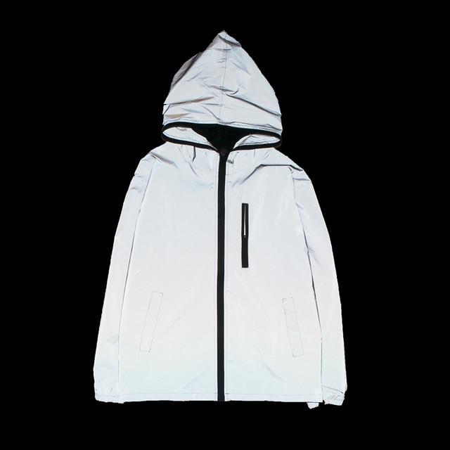 新しいフル反射ジャケット男性/女性原宿ウインドブレーカージャケットフード付きヒップホップストリート夜光沢のあるジッパーコート jacke