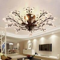 Iron Art Crystal Plafondlampen Restaurant Lamp Slaapkamer Plafondlamp Gang Ingang Creatieve Lamp Industriële Vintage Metalen