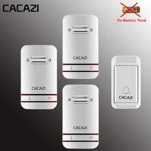 Cacazi, беспроводной дверной звонок с автономным питанием не нужен светодиодный фонарь на батарейках домашний вызов водонепроницаемый 220 в дверной звонок 1 Кнопка 1 2 3 приемника