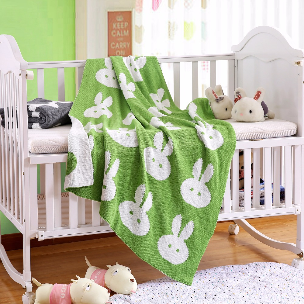 Knit Crochet Stroller Blankets Rabbit Pattern Baby Cotton Swaddle Bedding Double Side Kids Soft Luxurious Carseat Cover