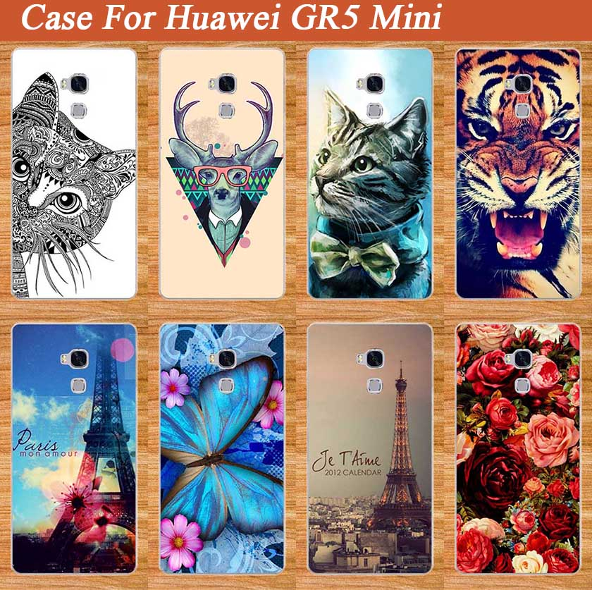 Phone Case For Huawei GR5 Mini covers TPU Soft DIY painting animale Flowers Eiffel Tower back case for Huawei GR5 Mini
