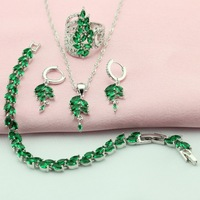 Green Stone Silver Plated Jewelry Sets For Women Bridal Jewelry Sets Necklace Pendant Earrings Bracelets Crown