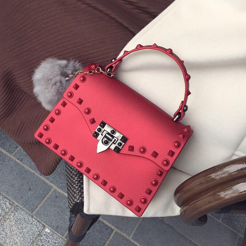 2017 Fashion Women PU Leather Candy Handbags Small Rivet Messenger Bag Female Crossbody Shoulder Bags Mini Jelly Bag For Gils