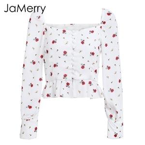 Image 5 - JaMerry אלגנטי לבן חולצה נשים חולצות 2019 בציר פרח הדפסת חולצה חולצות קיץ מקרית ראפלס קצר צמרות blusas נקבה