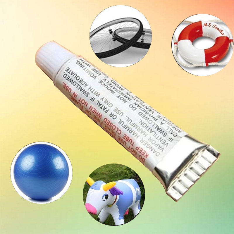 PVC Adhesive Patching Tool Inflatable Repair Glue Tube With 2 Patch Film For Bike Boat Yoga Ball Portable