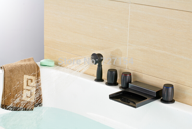 Free Shipping! Oil Rubbed Bronze Bathroom Shower Faucet Bathtub Mixer Deck Mounted Hand Shower