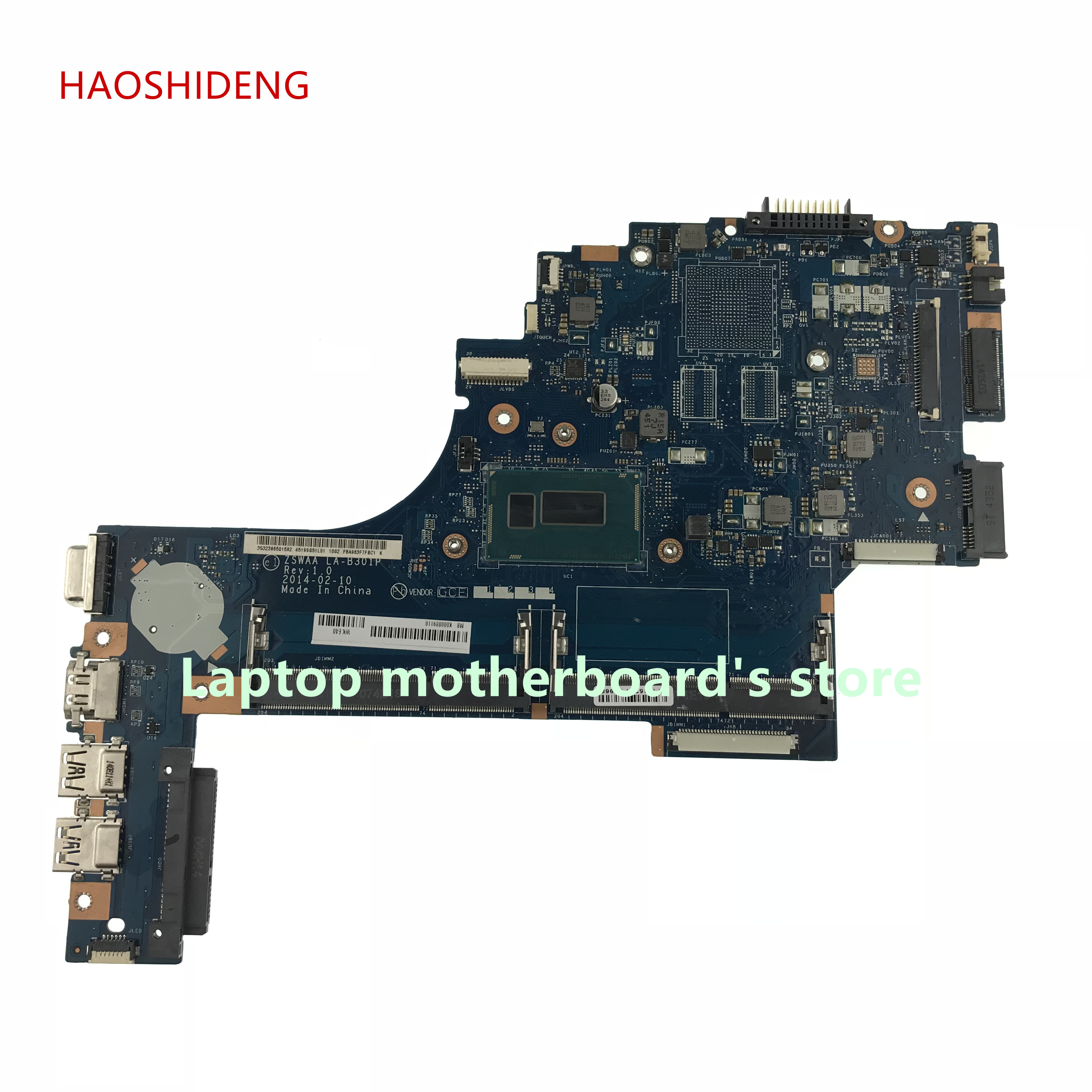 HAOSHIDENG K000889110 LA-B301P For Toshiba Satellite C50 C55 C55T C55-B5200 C55t-B5349 Motherboard with i3-4005 fully Tested