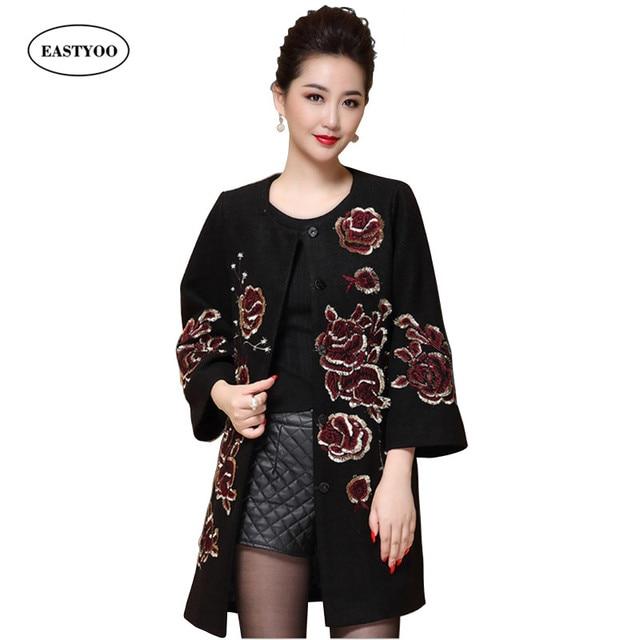 Embroidery Wool Coat Women Medium Long Woolen Coats Plus Size ...
