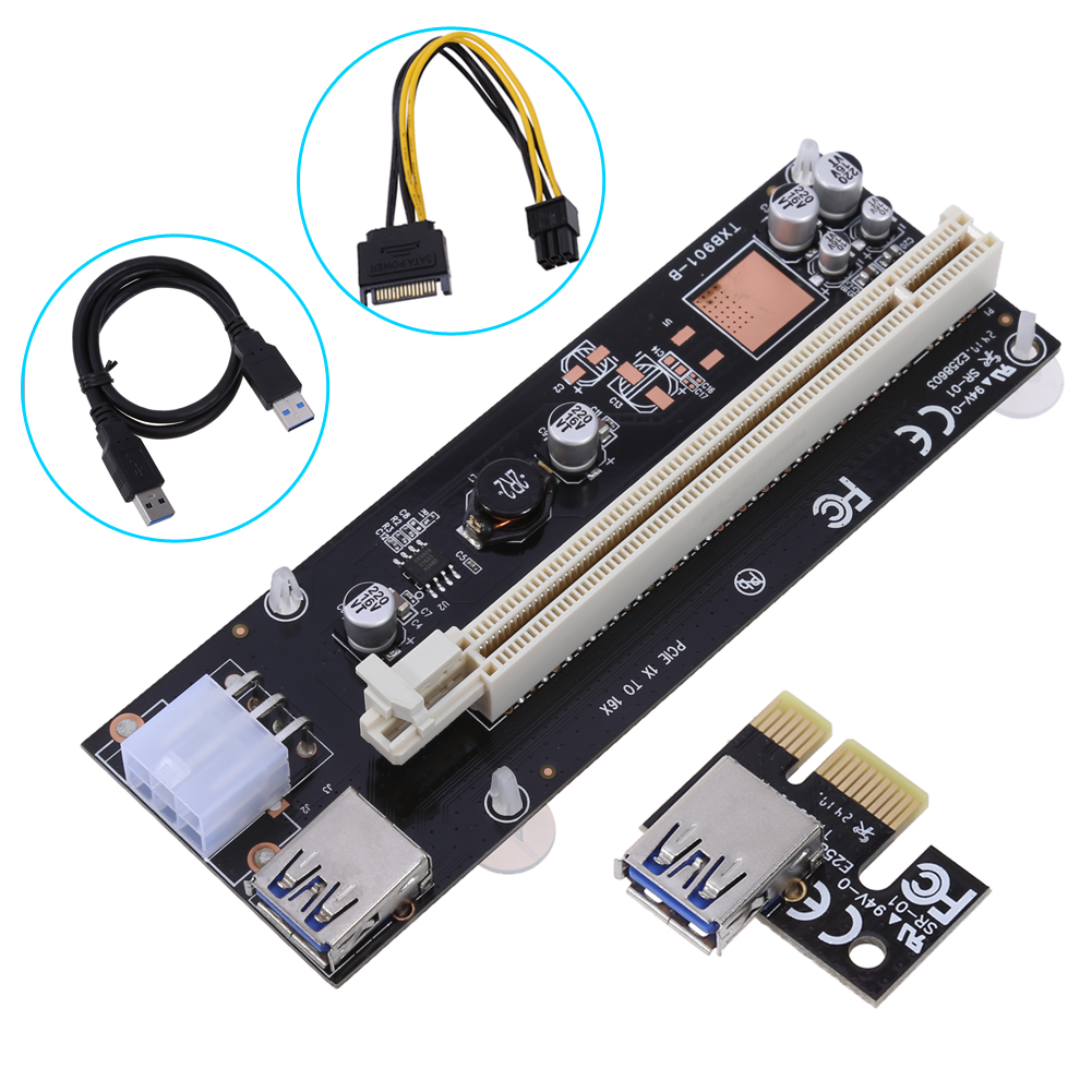 In Stock! PCI 1x to 16x Powered Express Riser Board USB3.0 PCI-E Extender Adapter Card Cable SATA to 6 Pins Power for BTC Miner