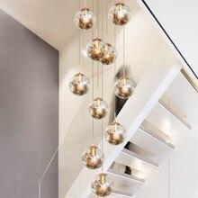 Арт-деко подвесной домашний декор длинная фойе Лестница Современная ручная выдувная стеклянная люстра свет для высоких потолков