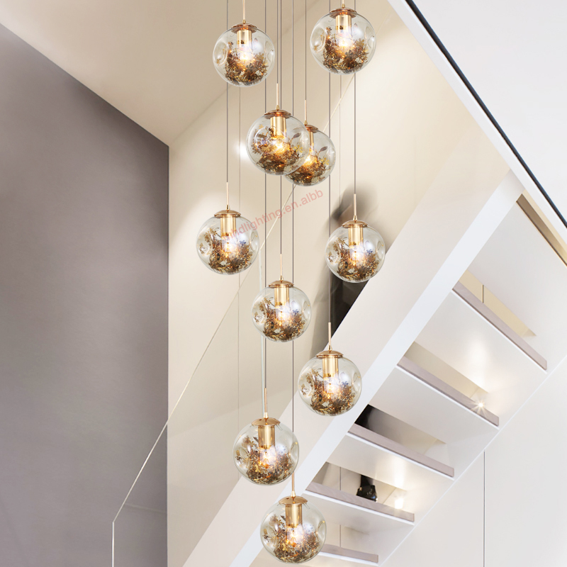 Art Deco Hanging Home Decorating Long Foyer Staircase Modern Hand Blown Glass Chandelier Light For High Ceilings