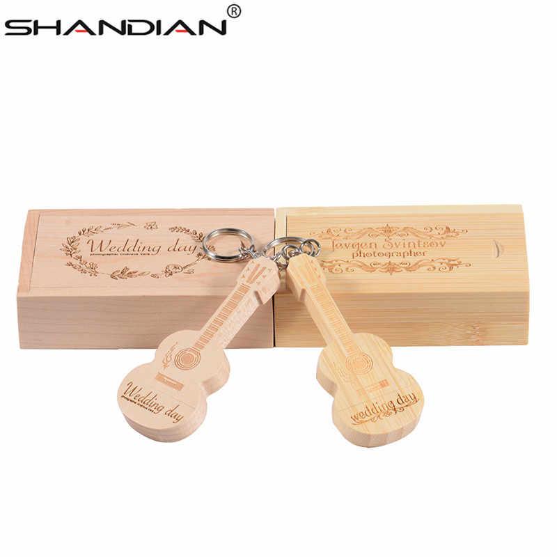 Presente de madeira personalizado do chaveiro do metal da vara 4 gb 16 gb 32 gb 64 gb da memória da movimentação do flash de usb da pena da guitarra do logotipo de shandian
