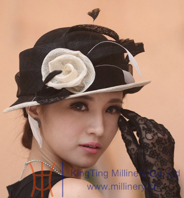 598d54546c6 Free Shipping New Women Hat Sinamay Hat Sinamay Fabric Flower Elegant  Handmade Girl Hat Two Colors
