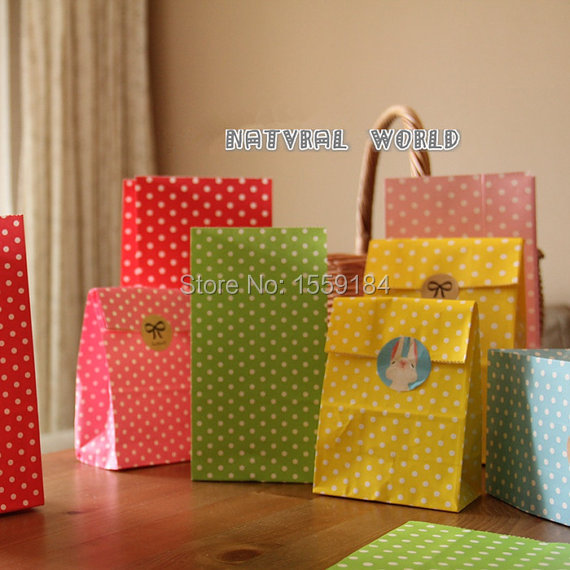 Free Shipping 100pcs Dot Paper Bag (free stickers) Gift Wrapping