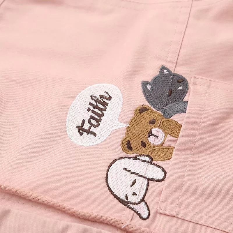 Image 5 - MERRY PRETTY Women Coats And Jackets Autumn Cartoon Print  Outerwear Jeans Casual Long Sleeve Single Breasted Hooded  JacketJackets