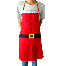 Fashion Creative Christmas Apron Women Men Red Soft Smooth Sleek Cuisine Vestidos Restaurant Avental Kitchen Aprons Dropshipping