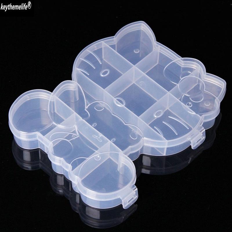 Keythemelife Plastic Cartoon Hello Kitty Jewelry Storage Box Case Storage Box Craft Organizer Storage Beads 3D