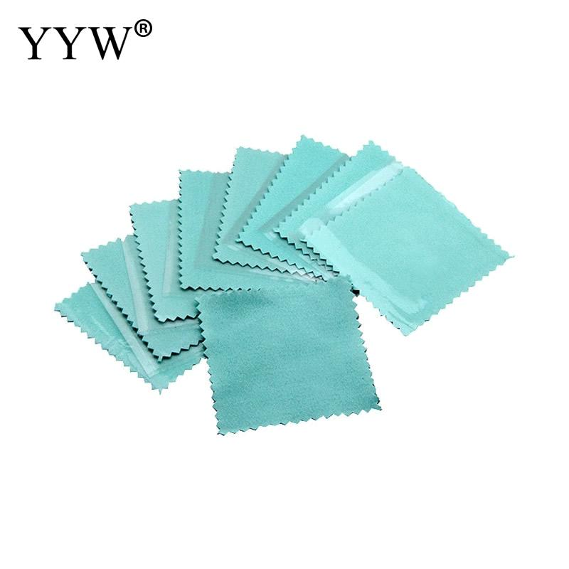 YYW 10PCs 80x80mm Blue Suede Silver Polishing Cloth Square Flannelette Cleaning Silver Polishing Cloth For 925 Sterling Silver