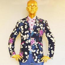 man's linen and cotton blend with printed rose flower and tree's pattern tuxedo designer jacket ,bespoke tailor made MTM coat