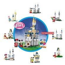 цена на Funny fairy tale funland animal image scene 8in1 Castle building block mickey Donald Minnie daisy figures duck mouse bricks toys