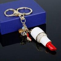 12 개 도매 립스틱 키 빨간색 높은 뒤꿈치 신발 크리스탈 구슬 열쇠 고리