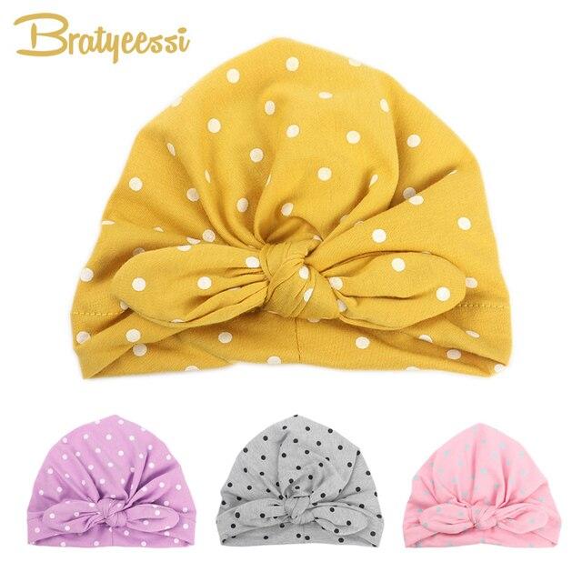 Милые, в крапинку для маленьких девочек шляпа с бантиком карамельный цвет детская чалма кепки обувь эластичные детские интимные Аксессуары 1 шт