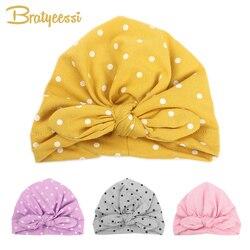 Süße Dot Baby Mädchen Hut mit Bogen Candy Farbe Baby Turban Kappe für Mädchen Elastische Infant Zubehör 1 PC