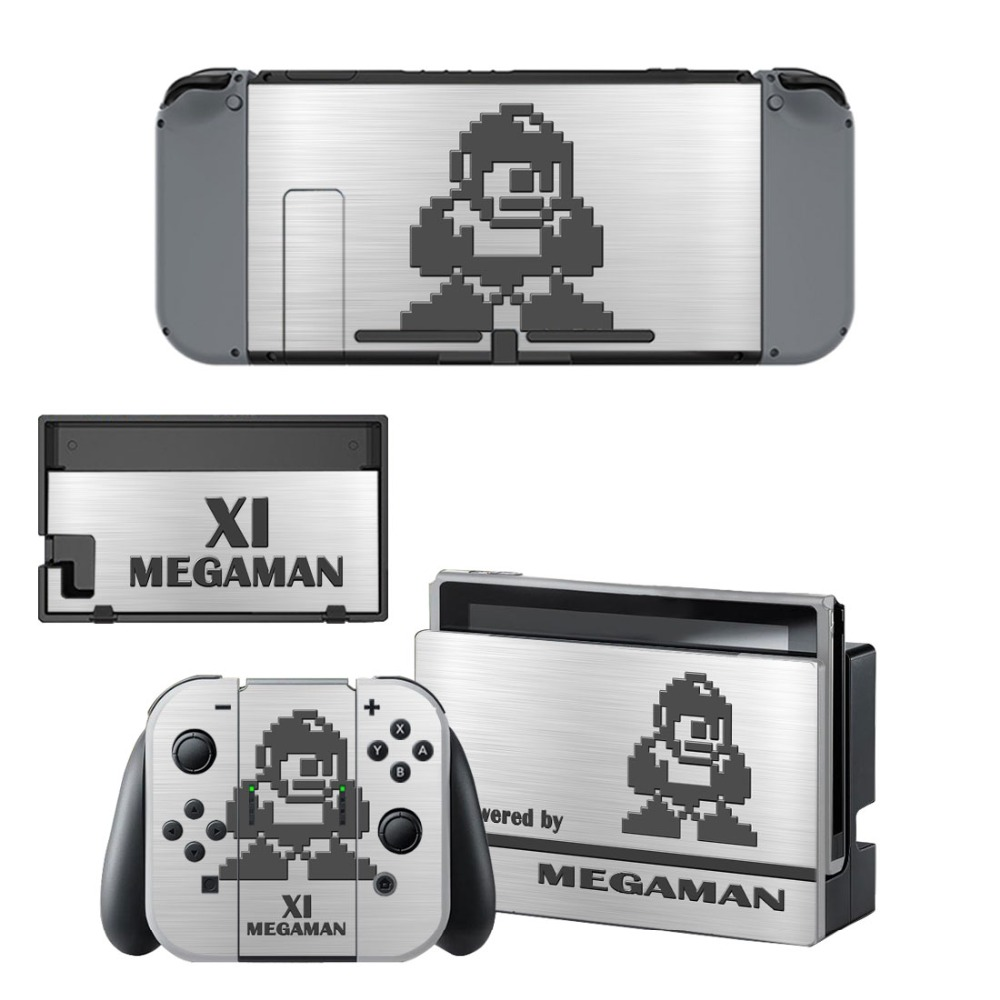 Game Mega Man Decal Vinyl Skin Sticker for Nintendo Switch NS Console + Controller + Stand Holder Protective Film