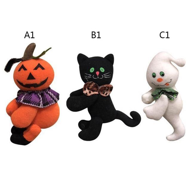 Halloween Decorations Plush Little Doll Black Cat Pumpkin Ghost