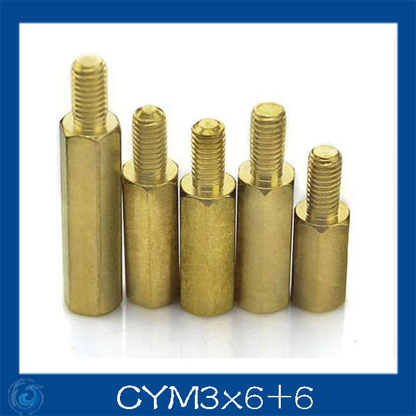 Free shipping M3*6+6mm Column M3 Single head angle of six pillars/Brass screw/Six angle separation column/M3-Series Screw cap 6 3