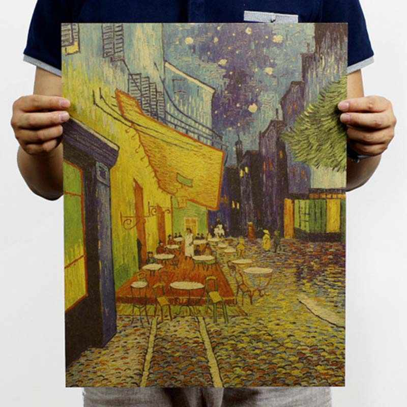 Van gogh cafe retro posters Kraft paper, hang a picture Bar poster Cafe Old drawing core Wall stickers