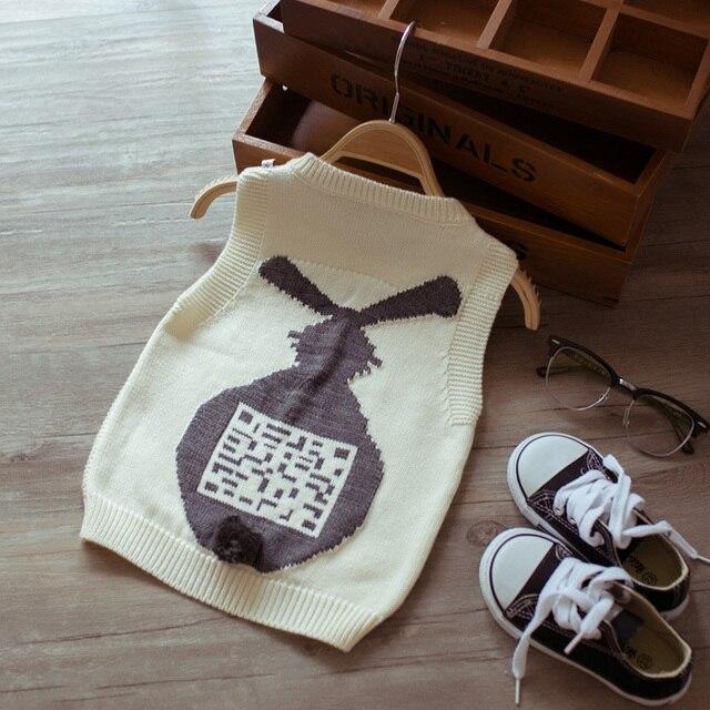 Дети мультфильм свитер жилет кролика свитер новорожденных девочек мальчиков вязаный свитер