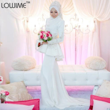Long Sleeve Musluman Wedding Dress Gelinlik Louisvuigon Muslim Wedding Dress Hijab Vestido De Noivas Abaya Kaftan Bridal Gowns