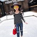Новая детская Весна Осень Корейские Девушки Полосой Без Бретелек Топы Футболки Дети Одежда Розовый Черный Синий Хлопок