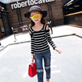 New Children's Spring Autumn Korean Girls Stripe Strapless Tops T-shirts Kids Clothing Pink Black Blue Cotton