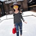 Nova Primavera Outono Meninas Coreanas das Crianças Stripe Strapless Tops T-shirts Crianças Roupas Cor de Rosa Azul Preto de Algodão