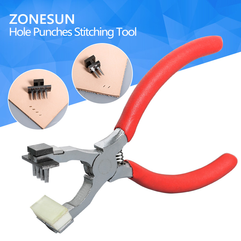 ZONESUN Leather Craft Punch 2mm 4mm handheld Hole Cutter Customized Tool punching chisel stitching new arrivals leather craft tools hole punches maker stitching punch tool round punch diameter round shape p1117