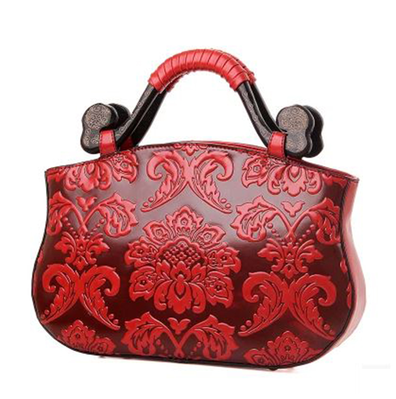 Chinese Style Handbags Embossed Hobo Shape Elunic Hand Bag Vintage PU Leather Red Shoulder Bag For Female Red
